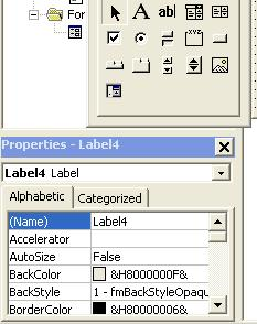 VBA Label - Properties Window