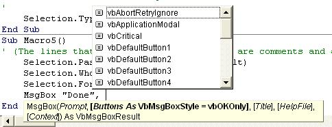 Using VBA in Word