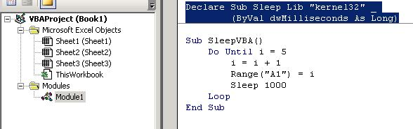 VBA Sleep Excel
